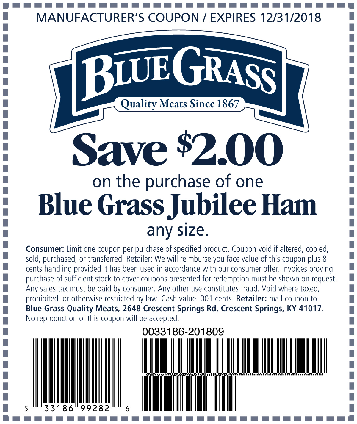 Save $2 on the purchase of one Blue Grass Jubilee Ham
