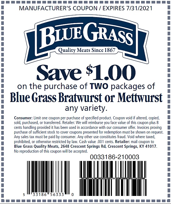 Save $1.00 on two packages of Blue Grass Brats and Metts
