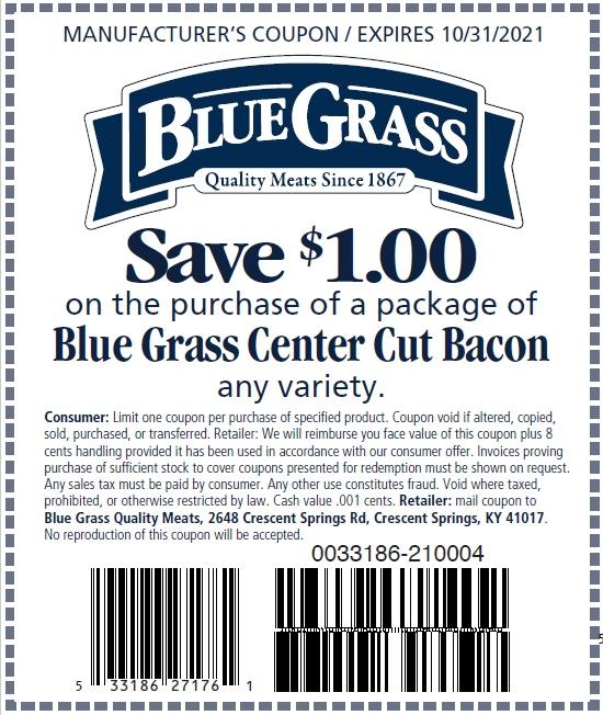 Blue Grass Center Cut Bacon Coupon