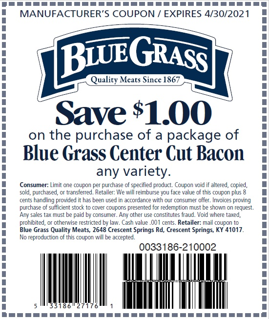 Save $1.00 on a package of Blue Grass Center Cut Bacon