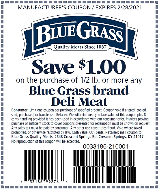 Blue Grass Deli Meat coupon