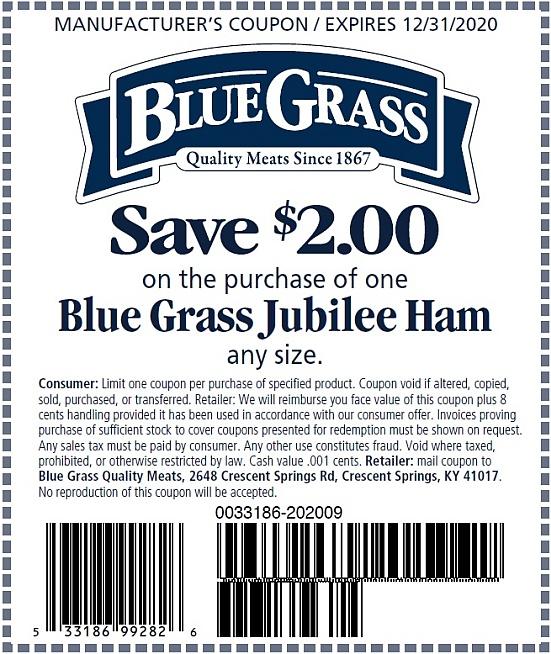 Save $2.00 on a Blue Grass Julilee Ham