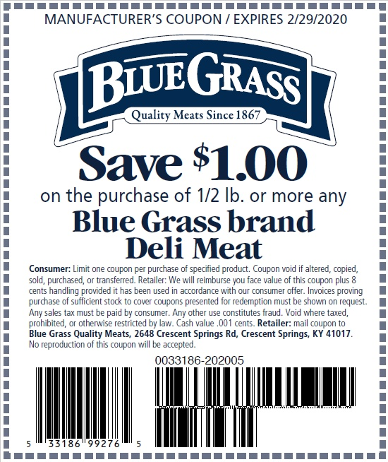 Save $1.00 on the purchase of a Blue Grass Deli Meat.