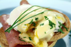 Eggs Benedict with Blue Grass Quality Meats Biscut Cut Country Ham