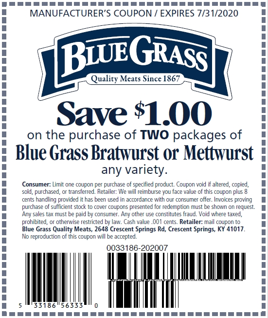 Save $1.00 on two packages of Blue Grass Bratwurst or Mettwurst